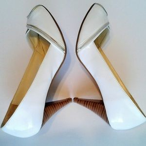 White Patent Leather Shoes Zipper Trimmed size 9